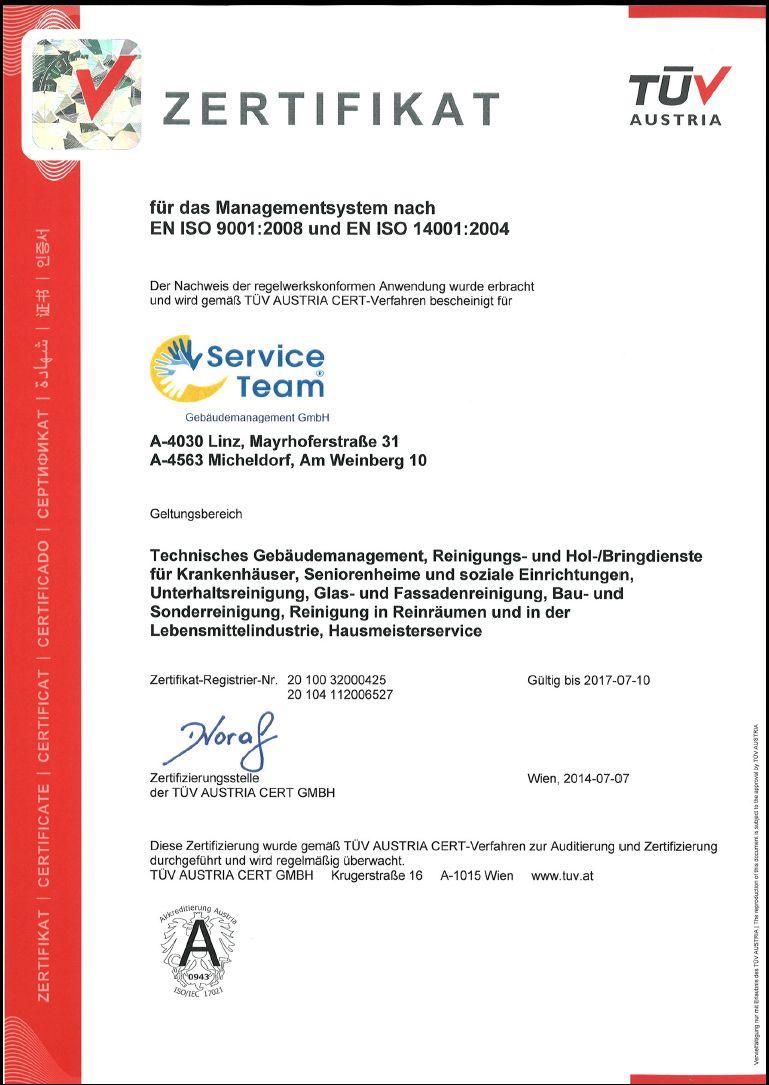 TÜV-Zertifikat ISO 9001 ISO 14001